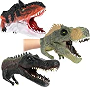 Dinosaur Hand Puppets for Kids Realistic Soft Rubber (Pack of 3)