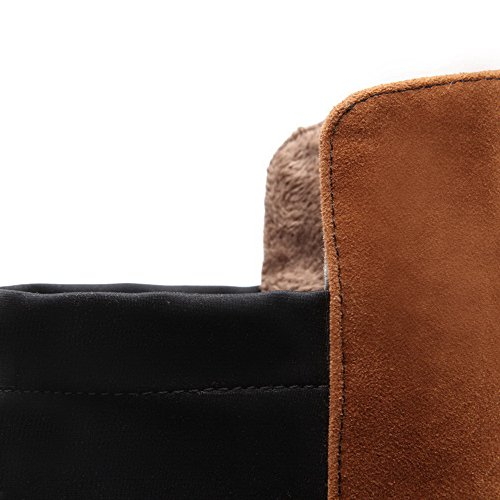AgooLar Stiefel Braun Damen Heels Runde Zehe Material Top geschlossene Verschiedene Farben Weiches High Kitten rrZ6q