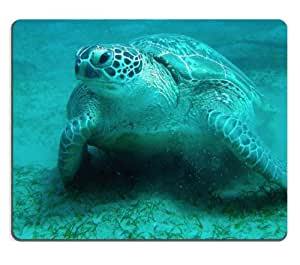 Sea Turtle on the Blue Ocean Floor Mouse Pads Customized Made to Order Support Ready 9 7/8 Inch (250mm) X 7 7/8 Inch (200mm) X 1/16 Inch (2mm) High Quality Eco Friendly Cloth with Neoprene Rubber MSD Mouse Pad Desktop Mousepad Laptop Mousepads Comfortable Computer Mouse Mat Cute Gaming Mouse_pad