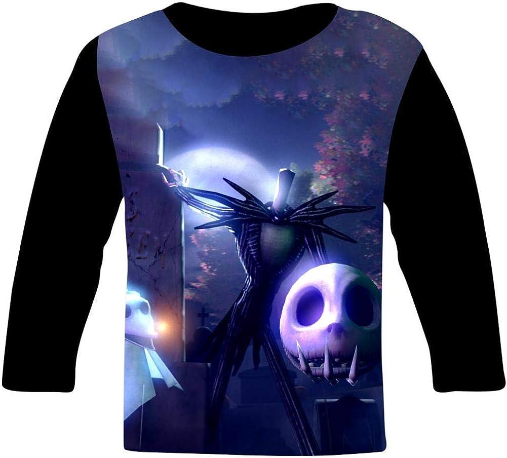 Halloween Jac-k Skull Art Kids T-Shirts Long Sleeve Tees Fashion Tops for Boys//Girls