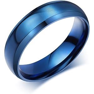 VNOX Customize 6MM Black Stainless Steel Beveled Edge Matte Brushed Finish Rings for Men Women,