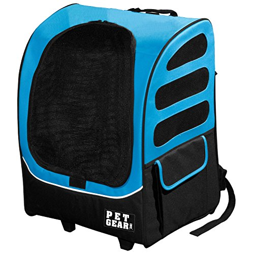 22x17.5x14 Inch Blue 5-in-1 I -Go2 Traveler Plus Pet Backpack and Carrier with Wheels, Telescoping Handle Pets Upto 25 Lbs Removable Plush Pad Seat Belt Buckle Backpack Tote Or Rolling Case, Nylon ()