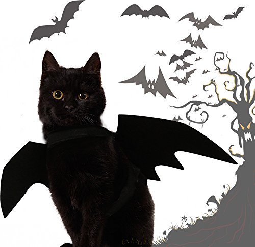 Sinrextraonry Cat Costume Apparel Halloween Pet Bat Wings Cat Dog Costume Black Cat Bat Wings Cosplay for Cat Small Dogs