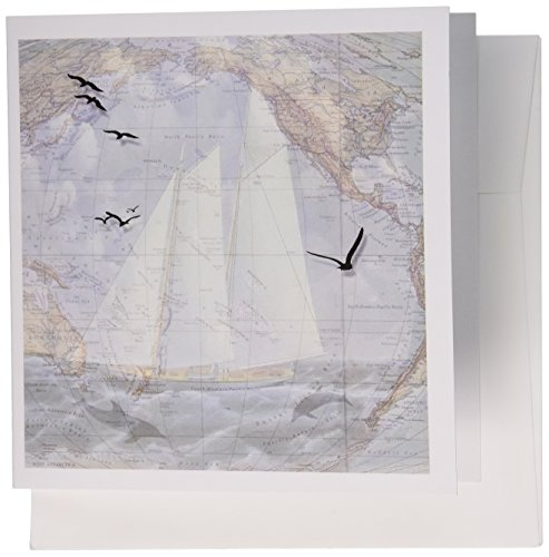 3dRose Vintage map and sailing ship with the