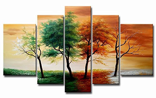 VASTING ART Oil Paintings on Canvas 5-Panel 100% Hand-Painted 4 Seasons Trees Landscape Artwork Stretched Framed Ready to Hang for Home Decoration Wall Decor