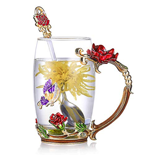 - Tea Cup Glass Coffee Mugs Enamel Rose Flower Butterfly Drinking Cups with Spoon Set Unique Gifts for Birthday Wedding Christmas Red Rose Tall Mug 12oz