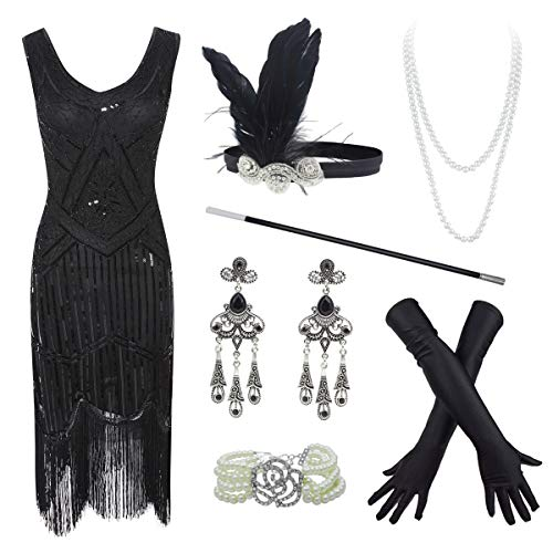 - 20s Flapper Gatsby Sequin Beaded Evening Cocktail Dress with Accessories Set (2X-Large, Black)