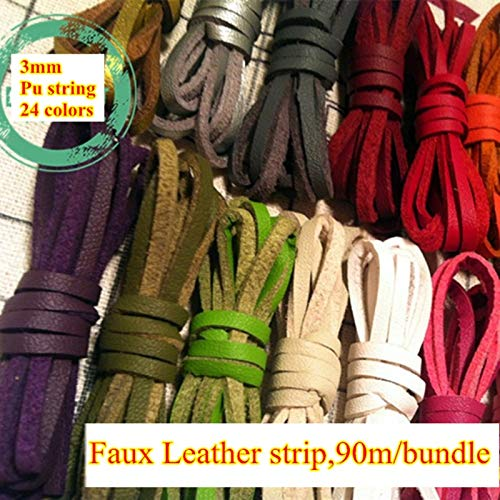 FINCOS 24 Colors 3mm Faux Leather Cord/lace/Strip/String Suede Cord PU DIY Braid Necklace Bracelet Thong Jewellery 90m - (Color: Olive Green)