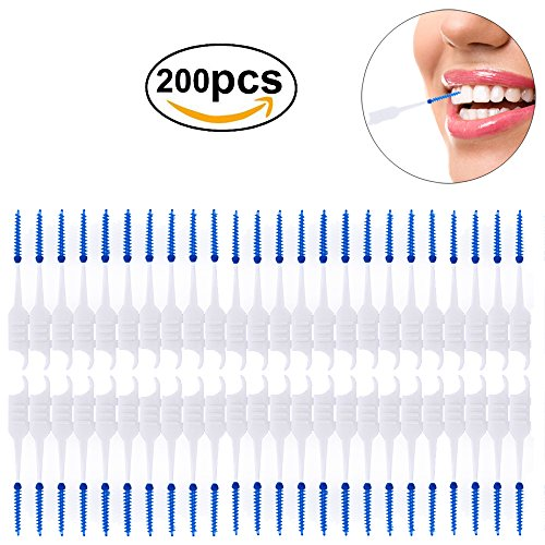 Hismith Soft Gum Picks, 200pcs Silicone Double-ended Disposable Tooth Picks, Advanced Wider Space Elastic Massage Gums (one packet)