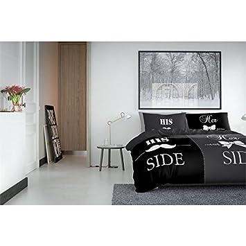 240x200//220 Noir Avec 2 Housse Doreiller 60x70 Housse de couette Mustache Nightlife