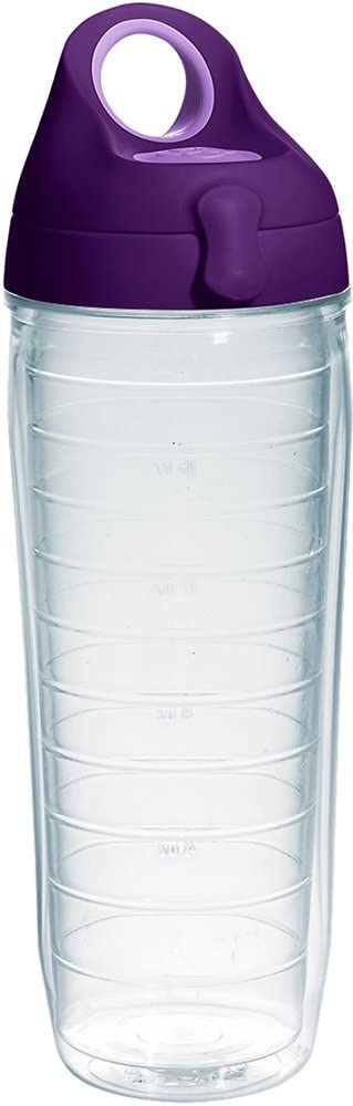 Tervis Clear & Colorful Insulated Tumbler with Purple Lid, 24 oz Water Bottle Tritan, Clear