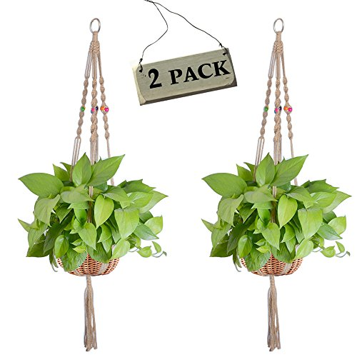 Zealor 2 Pack Plant Hanger Macrame Jute 4 Legs 40 Inches Plant Holder with Colored Beads for Indoor Outdoor Balcony Ceiling Patio Deck