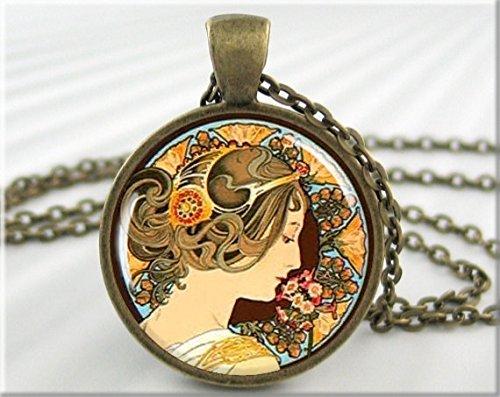 Mucha Art Pendant Alphonse Mucha Primrose Vintage Art Jewelry Resin Necklace