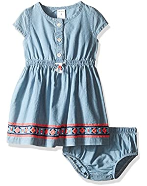 Baby Girls' Dress Chambray with Embro, Denim, 9 Months