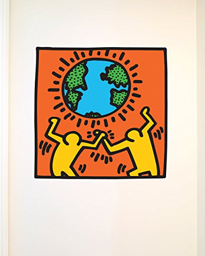 Keith Haring Globe, Officially Licensed 27-inch by 27-inch Removable Wall Decal, Made in USA by BLIK Surface (Blik Wall Decals)