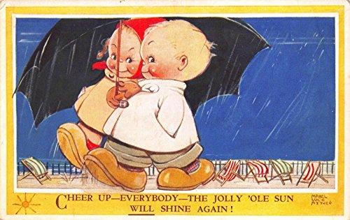 Mabel Lucie Attwell Postcard Baby Girl Boy Walking in the Rain Umbrella~116874 ()