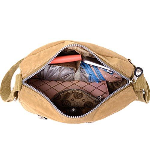 Water TianHengYi Women's body Lightweight Bag Khaki Fabric Messenger Bag Cross Small Resistant Shoulder Nylon rTt564qrwx