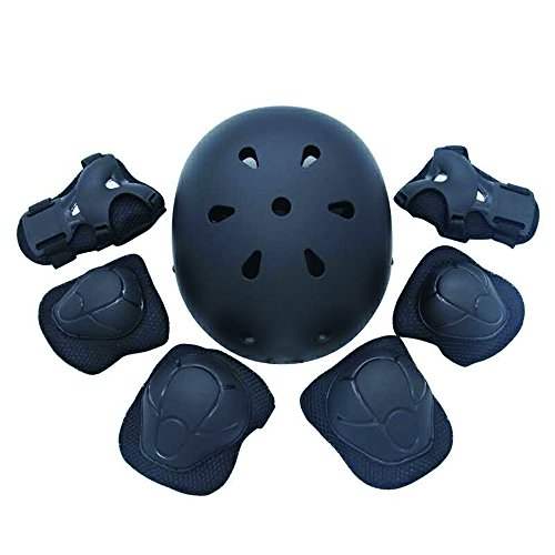 Black Scooter Helmet (Kiwivalley Kids Boys and Girls Outdoor Sports Protective Gear Safety Pads Set [Helmet Knee Elbow Wrist] for Rollerblades, Scooter, Skateboard, Bicycle, Rollerblades (4-14 Years Old) (Black))