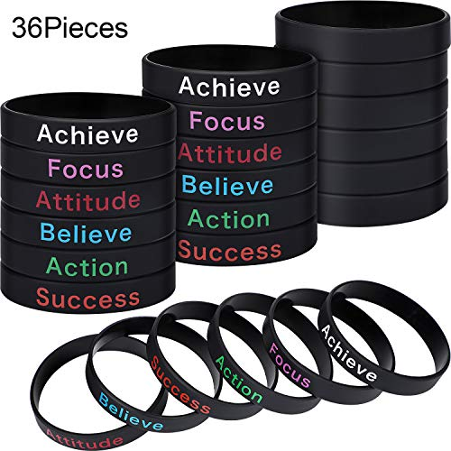 36 Pieces Inspirational Silicone Bracelets Motivational Rubber Wristbands Stretch Rubber Bracelets for Men and Women