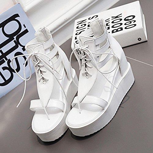 RAZAMAZA Mujer De Plataforma Cu?a Tacones Sandalias con Cordones Blanco