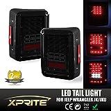 Xprite LED Brake Tail Light Conversion For Jeep Wrangler JK JKU 2007 - 2017 (Smoke Lens)
