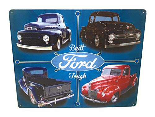 - Classic F100 Ford Trucks Tin Sign..Built Ford Tough Pics Featuring 4 Trucks