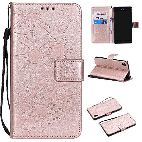 Price comparison product image CUSKING Sony Xperia XA Leather Wallet Case with Card Holder and Stand Function,  Magnetic Flip Folio Slime Protective Cover for Sony Xperia XA - Rose Gold