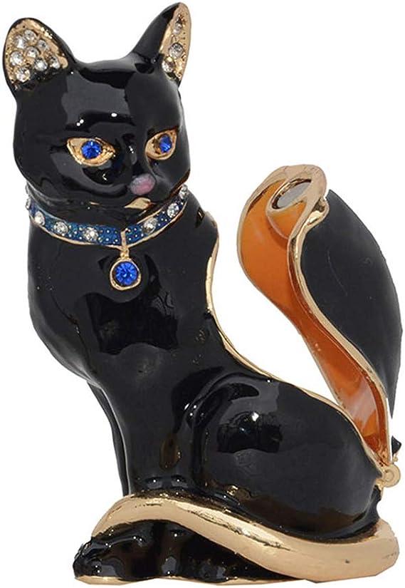 Feline Folk Art Treasure Jewelry Box Wooden Carved Cat Ring Box Pet Home Decor, Round Wood Trinket Box Catta-Palooza Kitty Sculpture