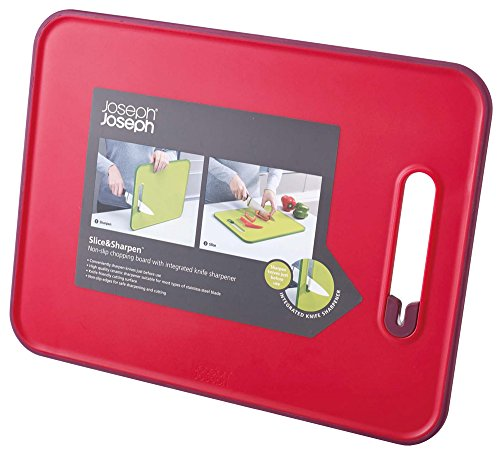 Joseph Joseph 60107 Slice & Sharpen Cutting Board with Integrated Knife Sharpener, Large, Red