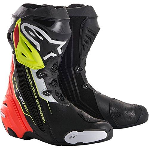 Alpinestars Supertech R Men's Street Motorcycle Boots - Black/Red/Fluorescent Yellow / 46