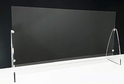 Generico Barriera Protettiva Separatore da Scrivania Divisorio per Ufficio Parasputi Parafiato Pannelli Divisori per Interni Barriera Plexiglass Banco da Lavoro 60x60cm Plexiglass Trasparente