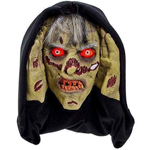 Scary Peeper Terrifying Zombie – Halloween Animated Decoration Prank with Creepy Face, Glowing Red Led Eyes – Funny Motion Activated Gag Prop for Haunted House -