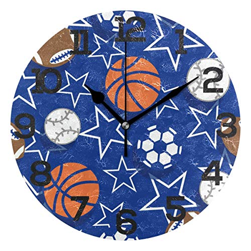 Dozili Sport Balls Soccer Stars Pattern Round Wall Clock Arabic Numerals Design Non Ticking Wall Clock Large for Bedrooms,Living -
