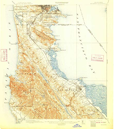 (YellowMaps San Mateo CA topo map, 1:62500 Scale, 15 X 15 Minute, Historical, 1899, Updated 1910, 19.8 x 17.5 in - Paper)