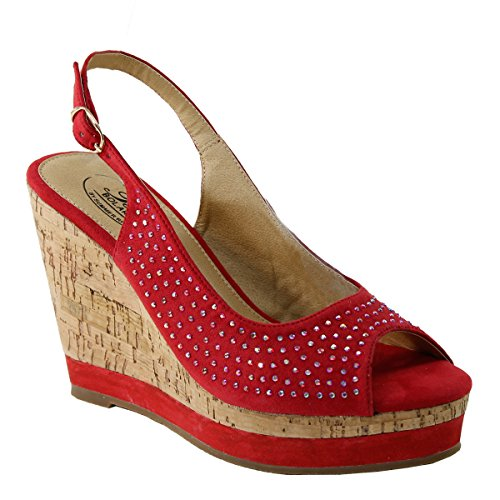 New Brieten Mujeres Rhinestone Peep Toe Plataforma Wedge Slingback Vestido Sandalias Rojo