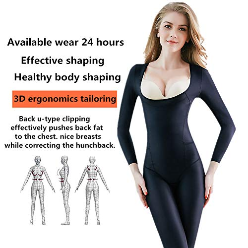- Ninery Ave Full Body Shaper Seamless Bra Lift Shapewear Long Sleeve Bodysuits (Black-No Breasted, L)