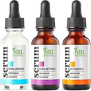 NBL Natural Anti Aging Set with Vitamin C Retinol and Hyaluronic Acid Serum for Anti Wrinkle and Dark Circle Remover All Natural and Moisturizing (3 x 30 ML)