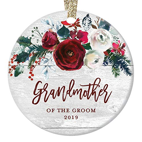Grandmother of The Groom 2019 Ornament Christmas Bridal Shower Wedding Present to Grandma from Grandson Future Husband Pretty Modern Farmhouse Keepsake 3