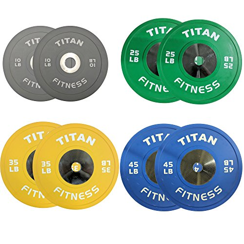 230 LB Set of Titan Color Elite Olympic Bumper Plates by Titan Fitness