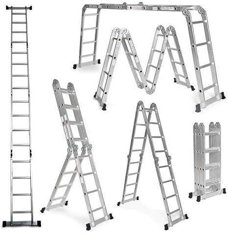 Grandmaster - Escalera De Aluminio Plegable 475cm, Multifuncional 6 En 1, Carga Máxima 150kg, Diseño Antideslizante, Tamaño Plegado 126x63x27cm: Amazon.es: Hogar