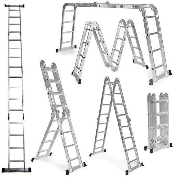 Escalera De Aluminio Plegable 575cm, Multifuncional 6 En 1, Carga Máxima 150kg, Diseño Antideslizante, Tamaño Plegado 149x35x29cm: Amazon.es: Bricolaje y herramientas