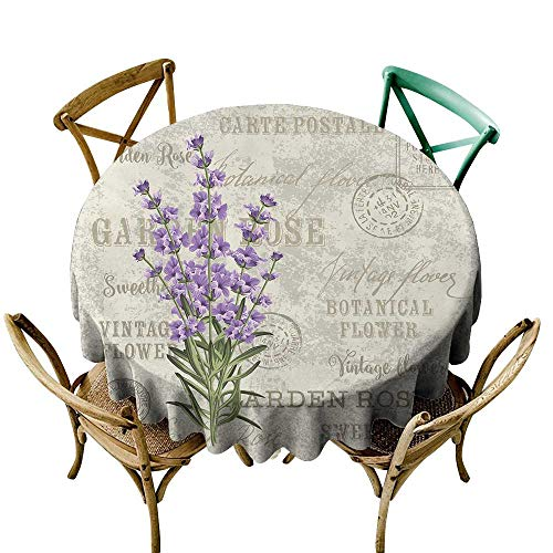 - Wendell Joshua Premium Round Tablecloth 36 inch Lavender,Vintage Postcard Composition with Grunge Display and Flowers,Lavender Reseda Green Beige Indoor/Outdoor Spillproof Table Cloth