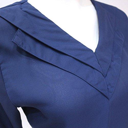 Col Mousseline Tops Taille Chemisier Blouse T Longues Sleeve Femme Printemps Unie Shirts Grand Blouse V Couleur Manches Automne Bleu CIELLTE xxZ7PS