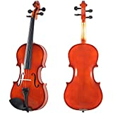 ADM® 3/4 Size Handcrafted Solid Wood Student Violin with Starter Kits (Shaped Case and Violin Bow, Rosin, etc.), Popular Violin for Beginners, New Players and Students, Traditional Red Brown lacquer finish