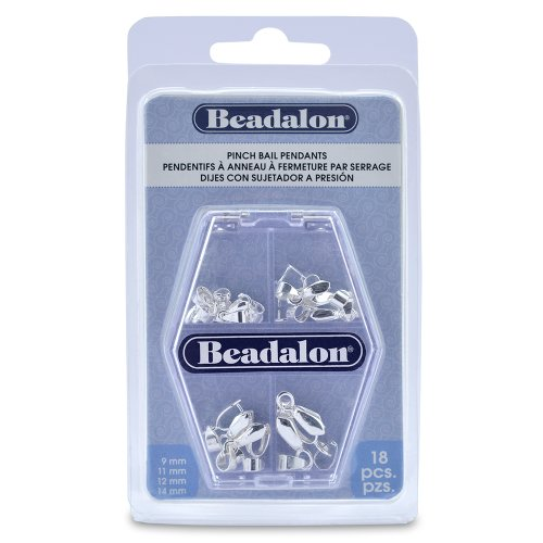Beadalon Pinch Bail Pendent Varity Pack Nickel Free Silver Plated, 18-Piece