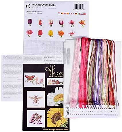 13.4 x 14.2inch Thea Gouverneur Aida Counted Cross Stitch Kit 520A Embroidery Kit Red//White Edged Early Double Tulip DIY Kit Pre-Sorted DMC Threads