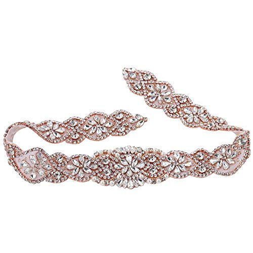 XINFANGXIU Rose Gold Wedding Bridal Sash Crystal Belt Rhinestone Applique Pearls Beaded Sewn Iron on for Formal Gown Dress (Rose Gold) (Belt Beaded Silk)