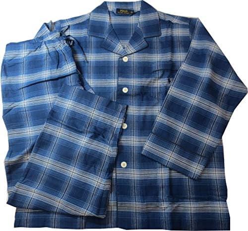 [ポロ ラルフローレン] Polo Ralph Lauren パジャマ 紳士 メンズ 長袖 ポニー刺繍 チェック フランネル 秋冬 ブルー