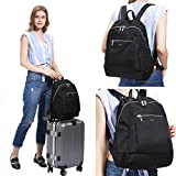 Womens Nylon Backpack Daypack Large Casaul Daypack Travel Outdoor Sport, Laifu (black)