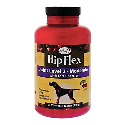 Overby Farm Hip Flex Joint Level 2 Moderate Care with Tart Cherries for Dogs, 60 ct Chewable Tablets , Made in USA